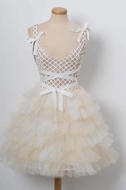 Champagne tulle short prom dress. champagne homecoming dress,PL3647