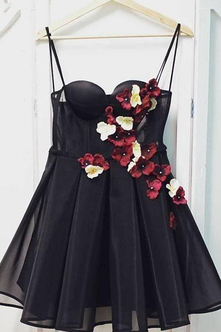 Black tulle sweetheart neck short prom dress, black homecoming dress,PL3653