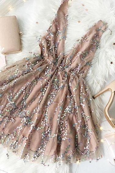 sequin Homecoming Dresses,Homecoming Dresses,A-line Party Dresses,PL3656