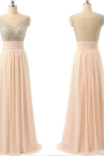 Blush Bridesmaid Dress,Beaded Illusion Prom Dress,Sexy Open Back Prom Gown,Formal Evening Party Dress