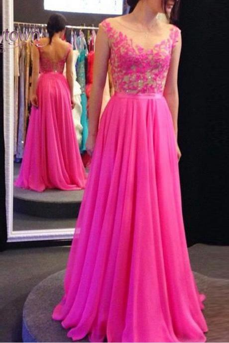 Hot Pink Chiffon Prom Dresses,Chiffon Prom Dresses,Long Chiffon Prom Dresses,Appliques Prom Dresses,Cap Sleeves Evening Dresses,Long Chiffon Party Dresses