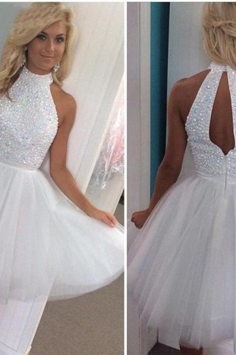 White Short Homecoming Dress,Sexy Party Dresses, Short Prom Dress,Homecoming Dress,Mini Homecoming Dresses,Beaded Crystal Party Cocktail Dresses,Open Back Homecoming Dresses,Sexy Homecoming Dresses