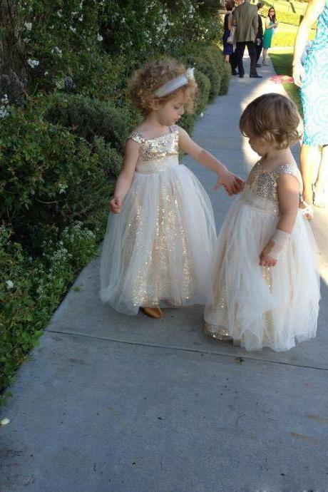 Gold Sequins Tulle Dress For Toddler Arabic First Communion DressesTulle Flower Girl's Dresses Wedding Party Prom Dresses