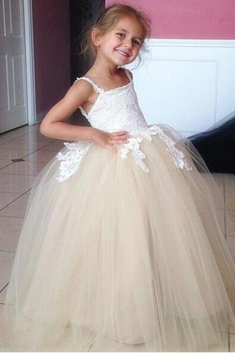Champagne Long Flower Girls Dresses For Weddings Spaghetti straps Ball Gowns Vintage Girl Party Prom Pageant Pincess Dresses Girl First Communion Dress Size 2--14