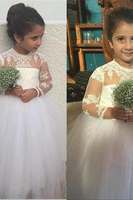 White/Ivory Long Flower Girls Dresses For Weddings Ball Gown High Neck Long Sleeves Vintage Lace Pageant Pincess Dresses Girl First Communion Dress Size 2--14
