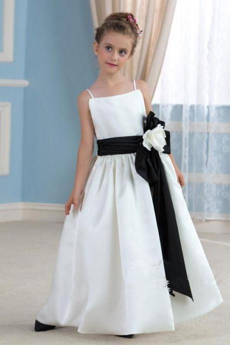White/Ivory Long Flower Girl Dresses Spaghetti straps Birthday Princess Dress Girl Party Pageant Dress First Communion Dresses with Sash Size 2--14