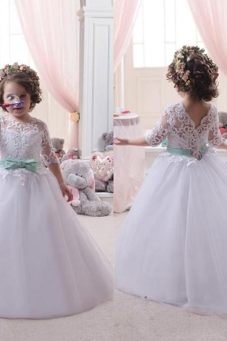 White/Ivory Flower Girl Dresses for Wedding with Short Sleeves Party Communion Birthday Gowns Girls Pageant Dresses