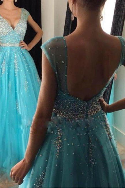 Beaded Prom Dresses,V-neck Prom Dresses,A-line Evening Dresses,Long Beaded Party Dresses,Blue Prom Dresses,Sexy Party Dresses,Backless Formal Gowns,Beaded Homecoming Dress