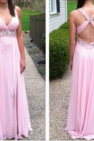 Long A-line Pink Chiffon Prom Dress Beaded Party Cocktail Dress V-neck Formal Evening Gowns Backless Homecoming Graduation Dress