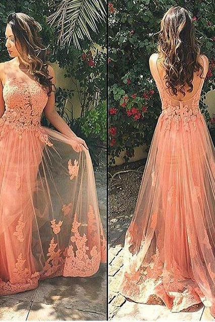 Long Tulle Appliques Prom Dress Formal Evening Gowns Backless Party Dress Cocktail Dresses Custom