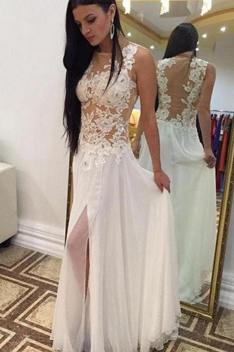 Backless White A-line Chiffon Slit Prom Dress with Appliques-Beaded Floor Length Formal Gowns Evening Dresses