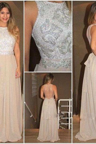 Long Champagne Chiffon A-line Beaded Sequins Party Cocktail Dress See Through Back Prom Dress Formal Gowns Evevning Dresses Long Sequins Homecoming Dresses