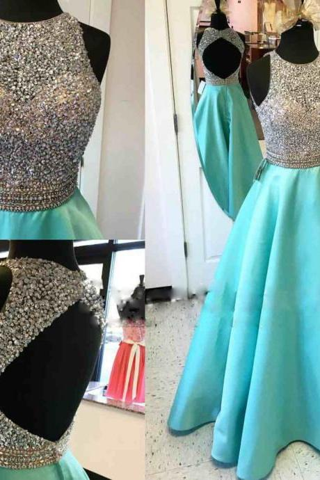 Long Satin A-line Beaded Sequins Party Cocktail Dress Backless Prom Dress Formal Gowns Evevning Dresses Long Sequins Homecoming Dresses