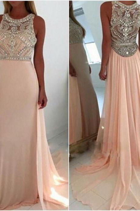 Light Pink Long Chiffon Prom Dresses Formal Gowns Evening Dresses Beaded Crystals Party Cocktail Dresses Long Chiffon Homecoming Graduation Dress for Women