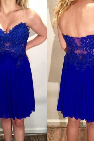 A Line Homecoming Dresses, Lace Appliques Prom Dresses, Mini Short Party Dresses, Chiffon Cocktail Dresses,Royal Blue Chiffon Prom Dresses,Mini Sweetheart Prom Dress