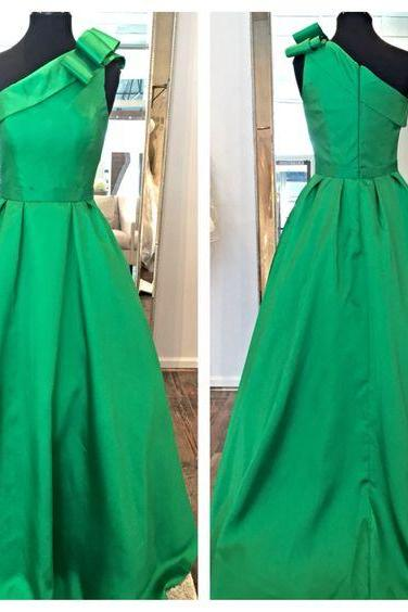 Green Long Satin One Shoulder Prom Party Dresses A line Cocktail Homecoming Graduation Dresses Zipper Back Long Evening Gormal Gowns Custom