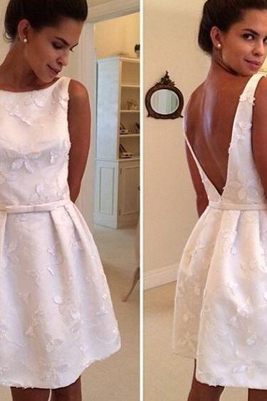 Sexy White Short Prom Dress,A Line Homecoming Dresses,Mini Prom Dresses, Mini Short Party Dresses, Sexy Cocktail Dresses,Backless Party Dresses