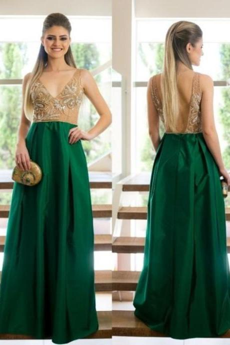 Dark Green A Line Satin Evening Dresses, Beading Crystals Prom Dress, Sexy Deep V Neck Party Dress, Long Formal Dress,Long Beaded Prom Dresses