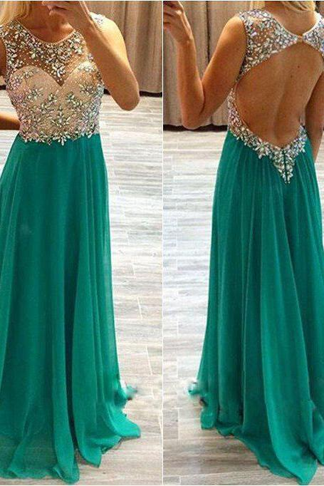 Backless Long Chiffon Prom Dresses Formal Gowns Evening Dresses Beaded Crystals Party Cocktail Dresses Long Chiffon Homecoming Graduation Dress for Teens