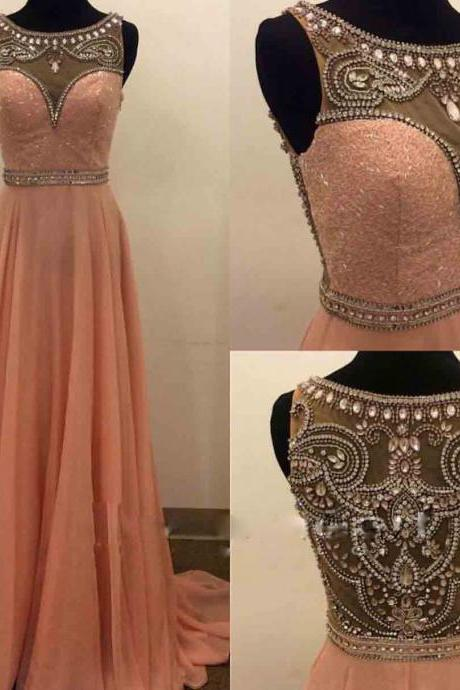 Long Blush Chiffon Prom Dresses Formal Gowns Evening Dresses Beaded Crystals Party Cocktail Dresses Long Chiffon Homecoming Graduation Dress for Teens