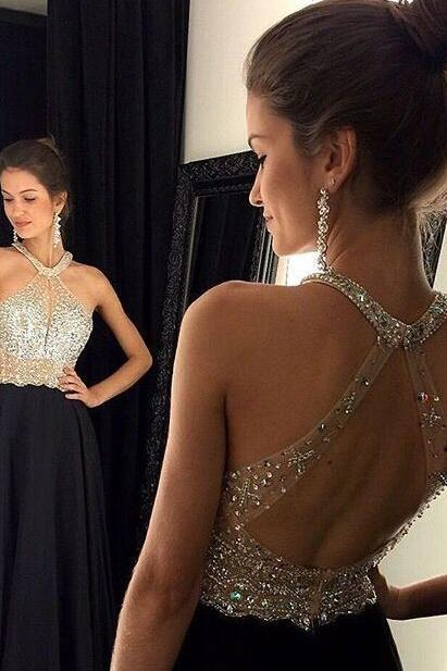 Sexy Black Chiffon Long Beaded Prom Dress Formal Evening Gowns Crystals Party Cocktail Dresses Halter Homecoming Graduation Dresses Custom