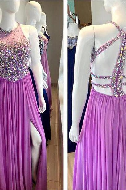 Sexy Lilac Chiffon Long Beaded Prom Dress Formal Evening Gowns High Slit Crystals Party Cocktail Dresses Halter Homecoming Graduation Dresses 2016