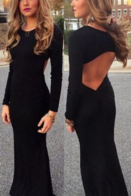 New Black Spandex Prom Dress Sexy Backless Long Prom Dresses 2016 Elegant Full Sleeve Scoop Mermaid Prom Dress Sexy Black Evening Formal Gowns Long Sleeves Party Dress