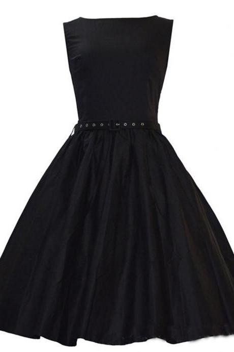 Sleeveless Retro Hepburn Style Vintage Party Dress Sexy Pinup Swing Dress 1950s Cocktail Prom Formal Rockabilly Evening Dress with Sash