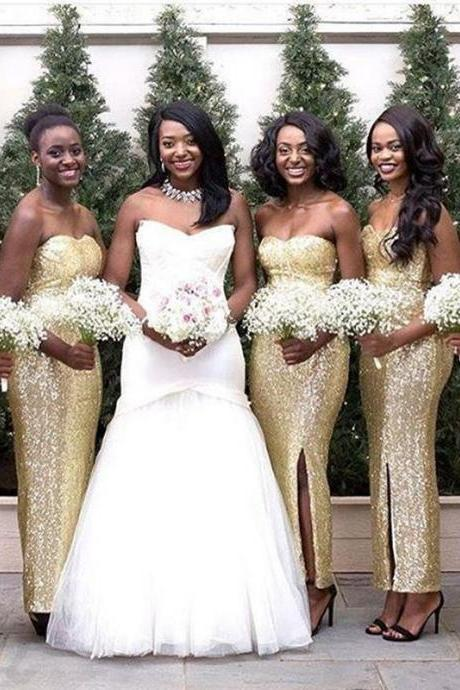 Long Sexy Gold Sequins Mermaid Bridesmaid Dresses Sweetheart Party Cocktail Dress Side Slit Mermaid Formal Gowns Sequins Evening Gowns