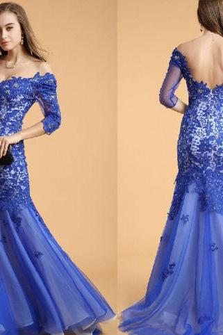 Royal Blue Appliques Off Shoulder Long Sleeves Mermaid Formal Prom Evening Party Beauty Pageant Dress Ball Gowns FREE Shipping