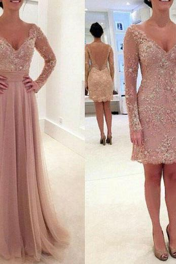 Long Sleeves V-neck Appliques Prom Party Formal Evening Dresses With Removable Train FREE Shipping