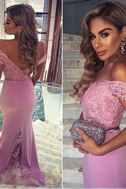 Purple Sexy Long Off Shoulder Lace Mermaid Party Prom Dresses 2016 Backless Formal Gowns Mernaid Evening Dresses