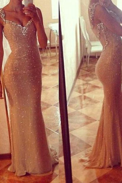 Champagne Long Beaded Mermaid Prom Party Dresses V-neck Evening Dresses Formal Ball Gowns