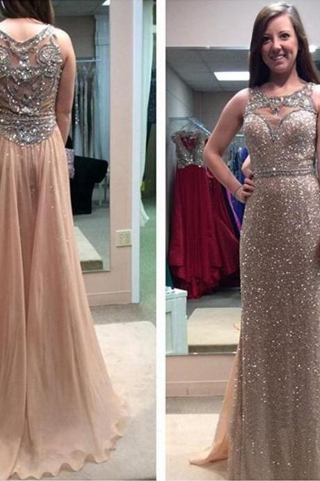 Long Gold Sequins See Through A-line Prom Party Dress Beaded Formal Evening Pageant Dresses Custom