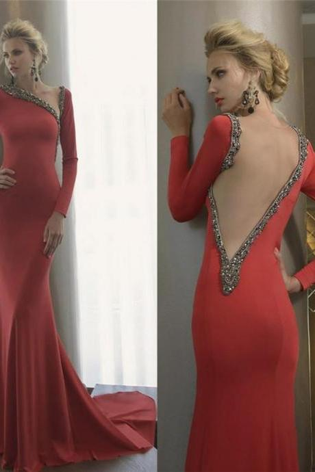 2016 Sexy Red Open Back Celebrity Evening Dresses Long Sleeves Mermaid Party Pageant Prom Dresses