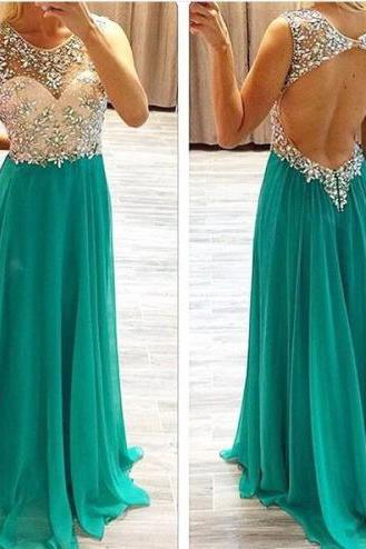 A-Line Long Beaded O-neck Beaded Backless Chiffon Prom Formal Dresses Sexy Party Cocktail Dresses