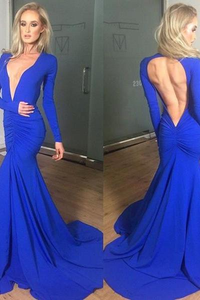 Blue Chiffon Prom Dress,Long Sleeve Prom Dress,Backless Prom Dress,Mermaid Prom Dress,Deep V Neckline Prom Dress
