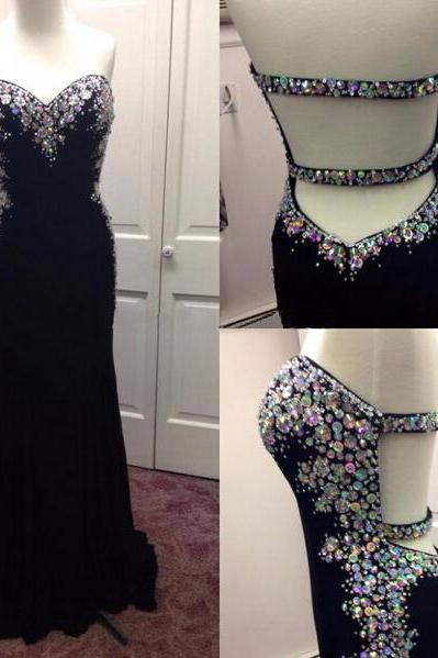 Sweetheart Backless Prom Dresses, Sexy Prom Dress, Black Chiffon Prom Dresses, Chiffon Prom Dresses, 2016 Prom Dresses,Beaded Crystal Chiffon Homecoming Dresses, Chiffon Formal Gowns