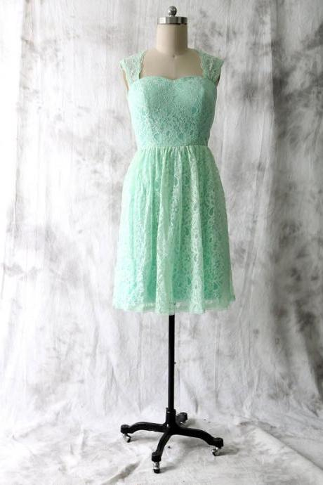 Short Keyhole Back Mint Lace Bridesmaid Dress
