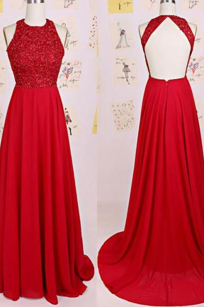 Keyhole Back Red Sequins Prom Dress,Fashion Open Back Sequins Graduation Dress,A-line Chiffon Evening Party Dress