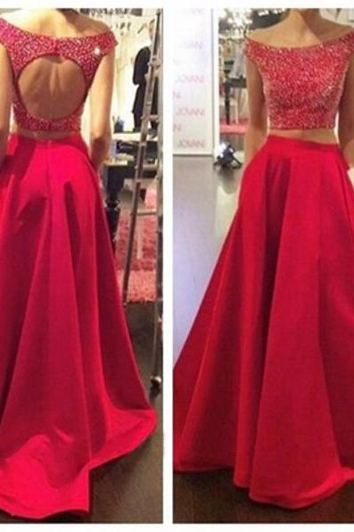 Free Shipping Two Piece Red Prom Dress,Keyhole Back Graduation Dress,Beaded Occasion Dress,Sexy Open back Party Dress