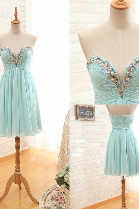 Ready to Ship Short Homecoming Dress,Sky Blue Cocktail Dress,Sweetheart Prom Dress,Short Strapless Party Dress