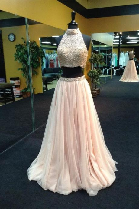 High Neck Prom Dress,Two Pieces Beaded Blush Prom Dress,Blush Tulle Two Pieces Prom Gown,High Neck Party Dress