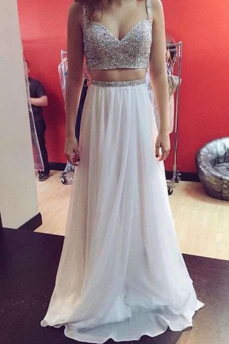 Two Pieces Prom Dress,Sexy Beaded Prom Gown,Prom Dress 2016,White Party Dress,Two Pieces White Graduation Dress