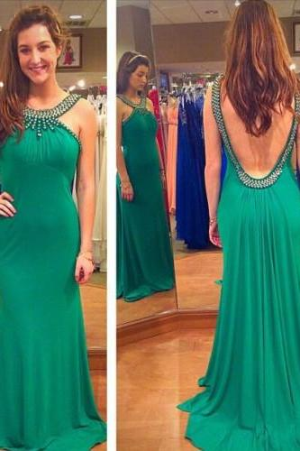 Sexy Open Back Prom Dress,Green Sexy Prom Gown,Backless Graduation Dress,Green Formal Party Dress,Sexy Evening Party Dress