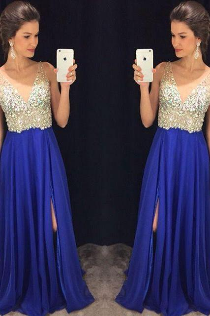 Sexy Slit Royal Blue Prom Dress,Deep V-neckline Beaded Prom Gown,Blue V-neckline Beaded Evening Dress