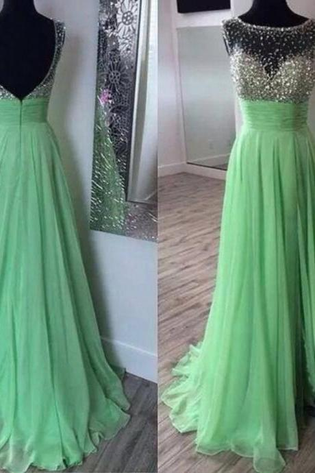 Full Length Green Sexy Split Prom Dress,Illusion Beaded Occasion Dress