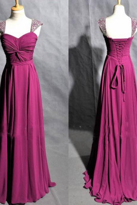 Free Shipping Beaded Cap Sleeves Prom Dress,Cheap Graduation Dress,Purple Evening Dress,Cap Sleeves Prom Gowns