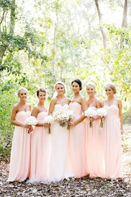 Empire Prom Dresses,Blush Pink Bridesmaid Dresses,Strapless Graduation Dresses,Sweetheart Wedding Party Dresses