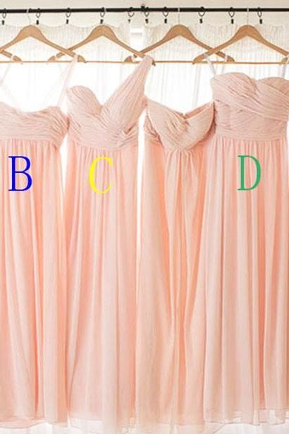 Custom Made One Color 5 Style Chiffon Long Blush Colored Pink Bridesmaid Dresses